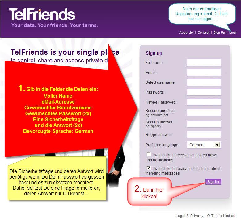 Erster Schritt: Registrieren bei telfriends.tel