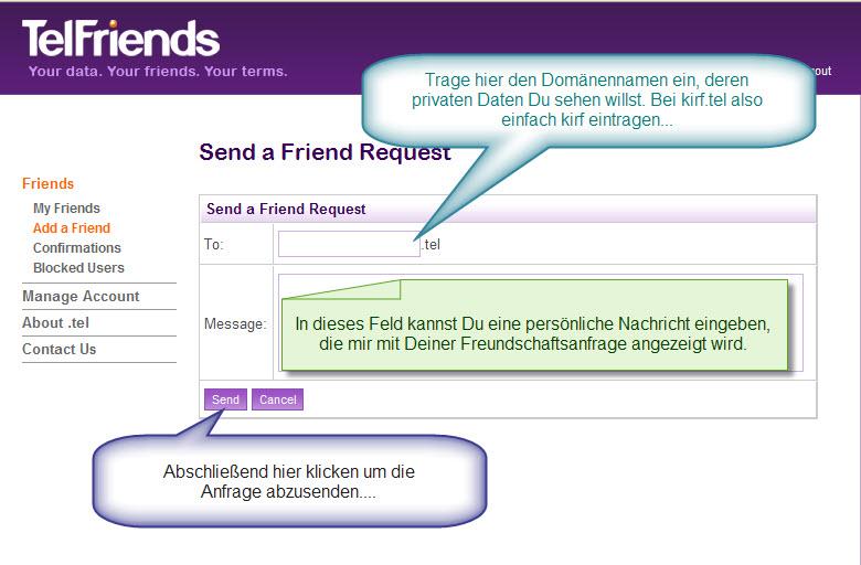 2. Schritt: Freundschaftsanfrage senden