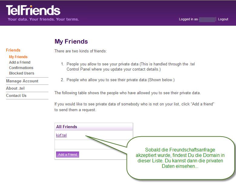 Auf Bestätigung der Freunschaft prüfen